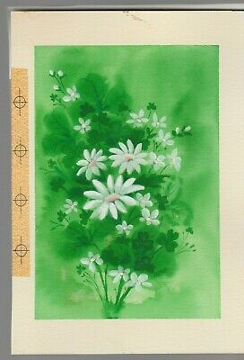 WHITE FLOWERS & Clover 7x9.5  #7817 St Patrick's Day Greeting Card Art • 38.47£