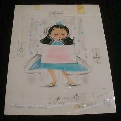 BIRTHDAY Cute Girl W/ Teal Dress & Sign 7.5x9.5  Greeting Card Art #1909 • 34.50£