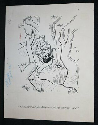 Babe Kissing Army Guy Gag - 1953 Signed Art By Charles Dennis • 61.30£