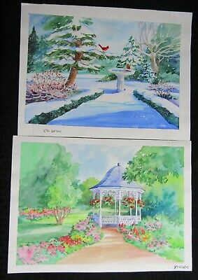 CHRISTMAS Garden W/ Gazebo & Birdbath 2pcs 13.5x10  Greeting Card Art #X6060 • 38.53£