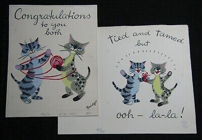 CONGRATULATIONS Painted Cats W/ Yarn 2pcs 10x8.25  Greeting Card Art #7751 • 37.70£