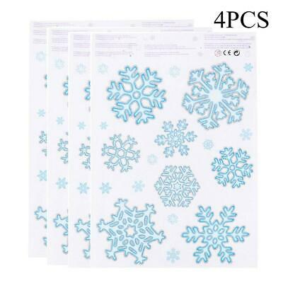 4pcs/set Glitter Christmas Window Decor Stickers Snowflake Door Cling Decal • 3.36£