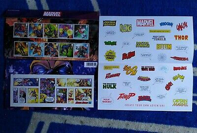 UK Royal Mail 15 Stamp Marvel Heroes Presentation Pack + Stickers - New • 24.99£