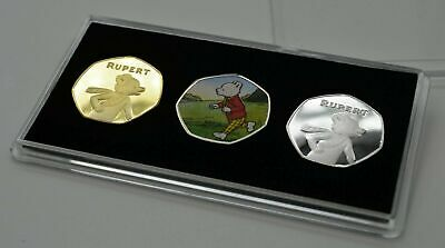RUPERT BEAR CASED TRIO SET. 50p COIN COLLECTORS. 100 YEAR ANNIVERSARY.. • 16.99£