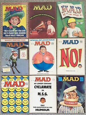 9 Mad Magazines Published In The 1970's No's 114-118 120 124 128 129. Will Split • 37£