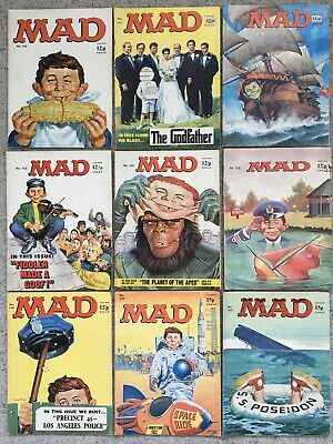 9 Mad Magazines Published In The 1970's Numbers 130-136, 139, 140 (Will Split) • 37£