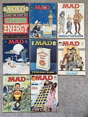 8 Mad Magazines Published In The 1970's Numbers 150-155, 169, 176 (Will Split) • 33£