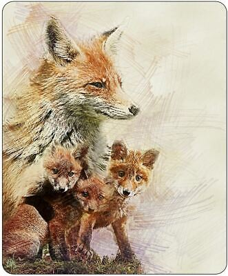 Illustrated Fox And Cubs Mousepad • 7.99£