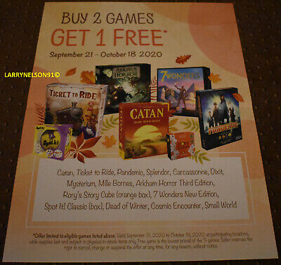 Catan Poster Pandemic Ticket To Ride 7 Wonders Arkham Horror Small World Winter • 10.01£