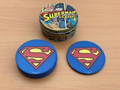 SUPERMAN COASTERS - Classic Logo - 6 In An Awesome DC COMICS TIN - Brand New !! • 15.99£