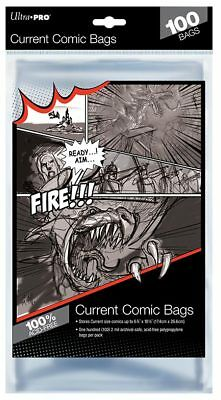 Ultra Pro Current Size Bags Clear Comic Book Protection Storage Sleeves (100) • 5.99£