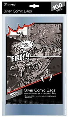 Ultra Pro Silver Size Bags Clear Comic Book Protection Storage Sleeves (100) • 5.99£
