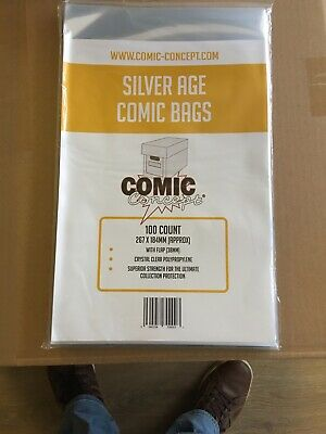 Silver Age Comic Bags 100 267mm X 184mm Wit Flap • 6.89£