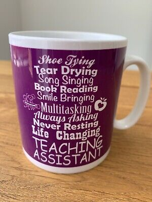 Teaching Assistant Mug In Purple And White With Poem • 0.99£