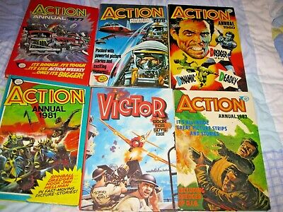 5 Action Annuals & 1 Victor Annual. 1970's - 80's. • 12£