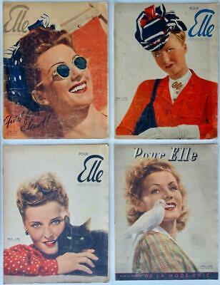 Collection Of Four Vintage Elle French Fashion Magazines For Women From 1941 • 99£