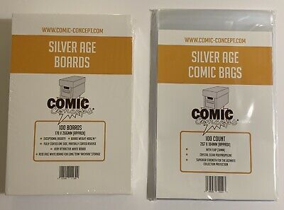 100 X COMIC CONCEPT COMIC BAGS AND BOARDS. SILVER AGE SIZE. FREE P&P! • 21.85£