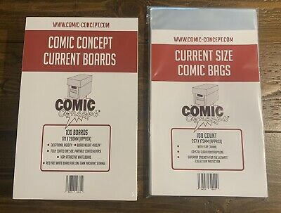 100 X COMIC CONCEPT COMIC BAGS AND BOARDS. CURRENT SIZE. MODERN SIZE. FREE P&P • 210.85£