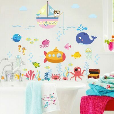 Cartoon Fish Wall Sticker For Kids Living Bathroom Room Home Decor • 6.89£