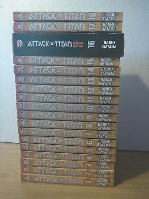 Attack On Titan Vol's 1-18 By Hajime Isayama - Manga Paperback Books  • 109.99£