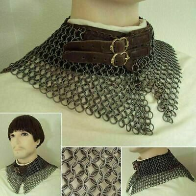 ChainMail MS Bishop Mental Collar 6mm Butted Blackened LARP SCA Brown Leather • 89.99£