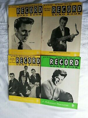 4X RECORD SONG BOOK MAGS 1960s SHADOWS/BOBBY VEE/JOHNNY PARIS/BILLY FURY COVERS • 1.20£
