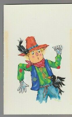 SCARED SCARECROW WITH CROWS 6x9  #8966 Halloween Greeting Card Art • 48.01£