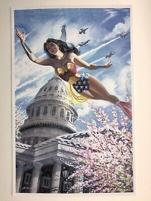 WONDER WOMAN Signed DC Comics Art Print / Poster By Steve Rude RARE ONE ONLY FLY • 20£