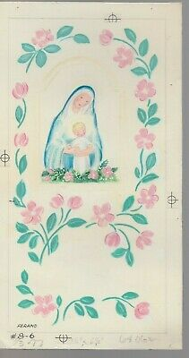 VIRGIN MARY & BABY JESUS Floral Border 6x11  #86 Christmas Greeting Card Art • 31.90£