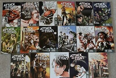 Attack On Titan 1-17&No Regrets 1&2 Complete Set English Delivery Signed Hermes • 82£