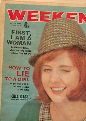 Weekend Magazine  1964 April 8-14. Cilla Black And 'How To Lie To A Woman' • 5£