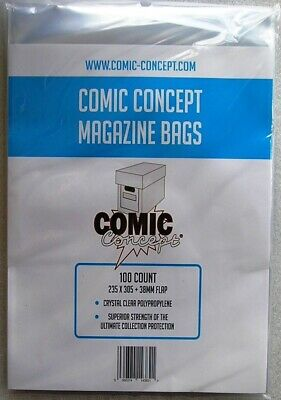 Comic Concept Magazine Bags Pack Of 100 Bags [ Large Comics ] 235 X 305mm • 9.95£
