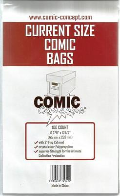 Comic Concept Current Size Comic Bags Pack Of 100 Bags - New • 5.99£