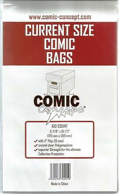 Comic Concept Current Size Comic Bags Pack Of 100 Bags - New - 175mm X 269mm • 5.99£