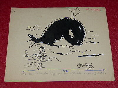 [Comics Drawing Humor Press] Jean Buzzini Dit Buzzi Drawing Original Sign Whale • 27.10£