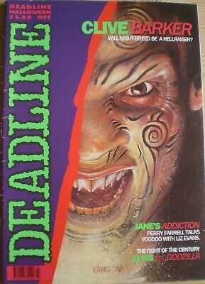 DEADLINE MAGAZINE ISSUE #23 Oct 1990 Clive Barker, Tank Girl Very Good Condition • 3.99£