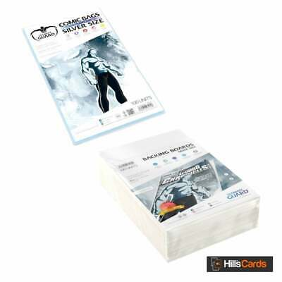 Ultimate Guard 100 Resealable Silver Age Size Comic Book Storage Bags + Boards • 18.49£
