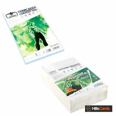 Ultimate Guard 100 Resealable Current Age Size Comic Book Storage Bags + Boards • 18.95£