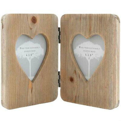 Driftwood Double Heart Wooden Photo Frame Freestanding Rustic. Size 2 X 4x6  • 15.82£