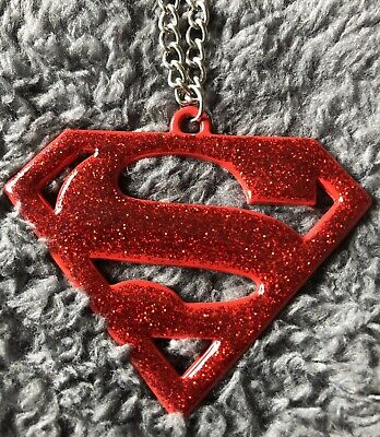 DC Superman Necklace Red Glitter • 0.99£