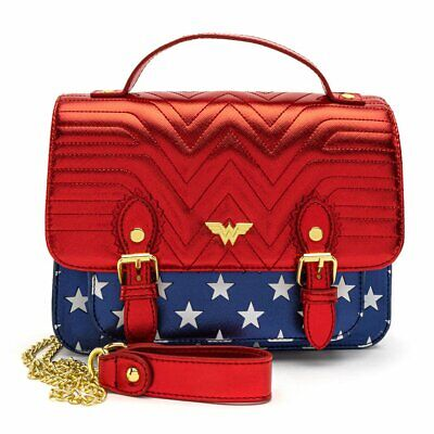 Loungefly X DC Comics Wonder Woman Red White And Blue Gold Chain Crossbody Bag • 59.99£