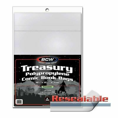 Treasury Size Comic Bags, Reaseable X 100 Bag Pack • 21.99£