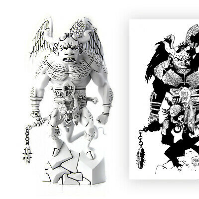 SIGNED & NEW First HELLBOY B&W Black White MONDO STATUE Mike Mignola 2012 +ART • 399.99£