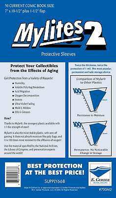 Mylites 2 Protective Sleeves Pack Of 50 Current Comic Size (e. Gerber) Mylites2 • 18.29£