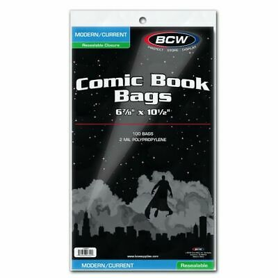 100 Resealable Current / Modern Comic Bags 2-mil Polyproylene (bcw) • 12.09£