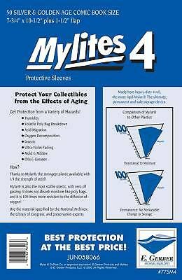 Mylites 4  Protective Sleeves  Pack Of 50 Silver / Golden Age Comic Size • 29.99£