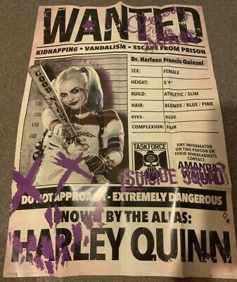 Harley Quinn Suicide Squad Wanted Poster (Margot Robbie Picture) Scarce!! • 24.99£