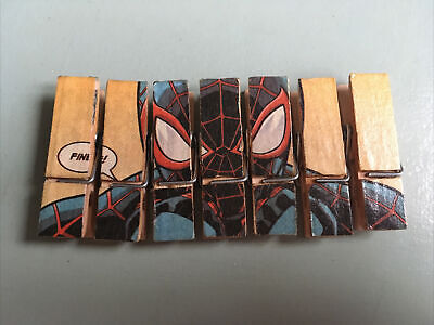 Marvel  Spider Man  Découpage  7 Pegs Made From Original Comics • 0.99£