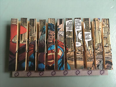 Marvel  SuperMan Découpage  11 Pegs Made From Original Comics • 0.99£