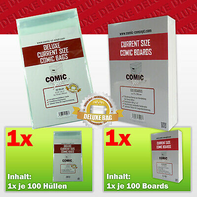 Comic Concept Sparpaket 100x Deluxe Current Size Bags (selbstkl.) + Boards • 16.18£